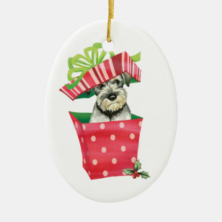 Happy Howlidays Standard Schnauzer Ceramic Ornament