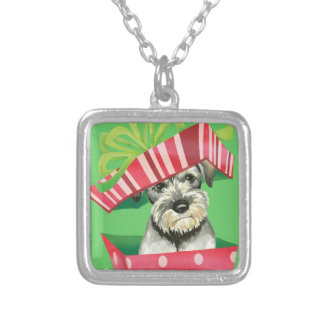 Happy Howlidays Standard Schnauzer Silver Plated Necklace