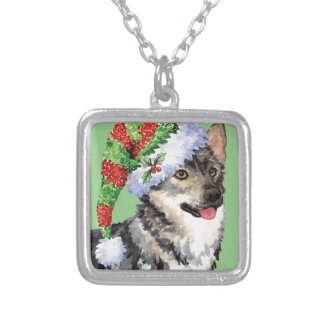 Happy Howlidays Swedish Vallhund Silver Plated Necklace