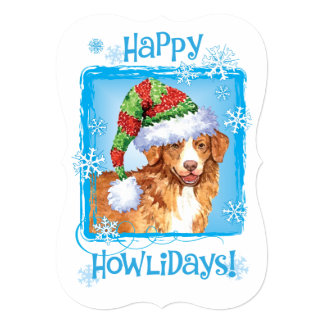 Happy Howlidays Toller 5x7 Paper Invitation Card