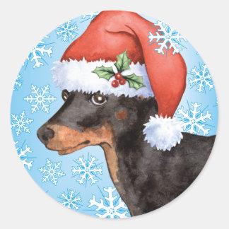 Happy Howlidays Toy Manchester Terrier Classic Round Sticker
