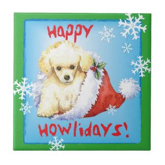 Happy Howlidays Toy Poodle Ceramic Tile