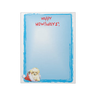 Happy Howlidays Toy Poodle Notepad