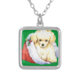 Happy Howlidays Toy Poodle Silver Plated Necklace