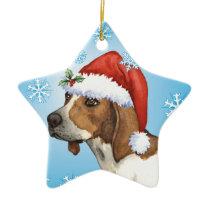 Happy Howlidays Treeing Walker Ceramic Ornament