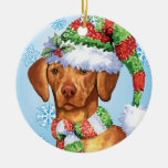 Happy Howlidays Vizsla Ceramic Ornament