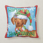 Happy Howlidays Vizsla Throw Pillow