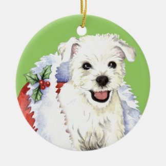 Happy Howlidays Westie Ceramic Ornament