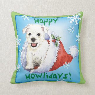 Happy Howlidays Westie Throw Pillow