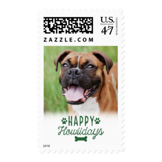 Happy Howlidays | White and Green Holiday Postage