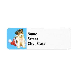 Happy Howlidays Wire Fox Terrier Label