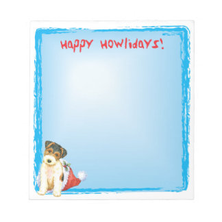Happy Howlidays Wire Fox Terrier Notepad