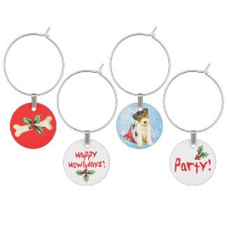 Happy Howlidays Wire Fox Terrier Wine Glass Charm