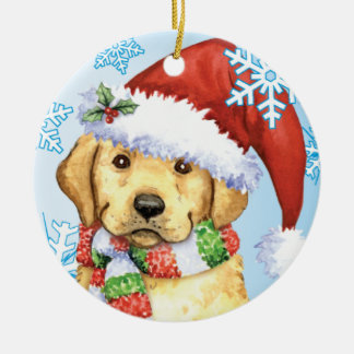 Happy Howlidays Yellow Lab Ceramic Ornament
