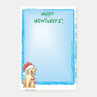 Happy Howlidays Yellow Lab Post-it Notes