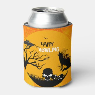 Happy Howling-Wolf Bat Skulls Halloween Can Cooler