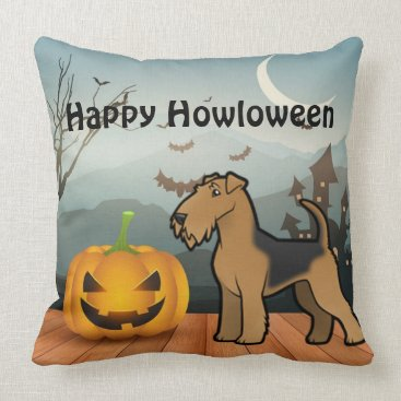 Halloween Themed Happy Howloween Airedale Terrier Throw Pillow