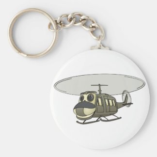 Happy Huey Helicopter Cartoon Basic Round Button Keychain