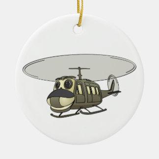 Happy Huey Helicopter Cartoon Ceramic Ornament