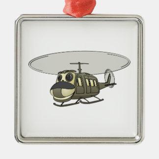 Happy Huey Helicopter Cartoon Metal Ornament