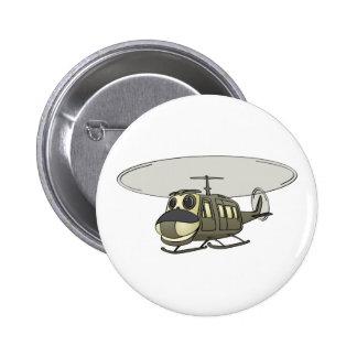 Happy Huey Helicopter Cartoon Pinback Button