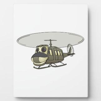 Happy Huey Helicopter Cartoon Plaque