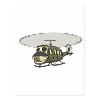 Happy Huey Helicopter Cartoon Postcard