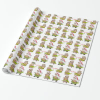 Happy Huladays Christmas Hamsters Wrapping Paper