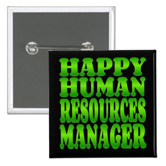 Happy Human Resources Manager in Green Pinback Button