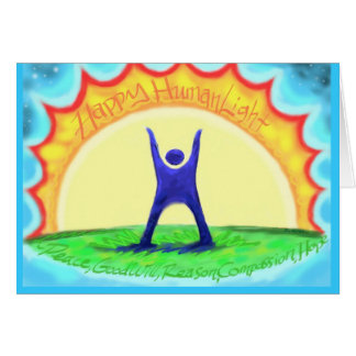 Happy HumanLight! HL description on back; Colorful Greeting Card