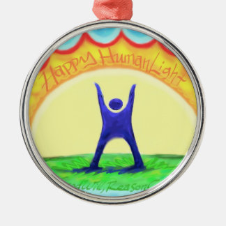 Happy HumanLight Round Metal Christmas Ornament
