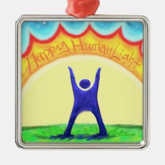 Happy HumanLight Square Metal Christmas Ornament