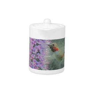 Happy hummingbird digitalArt Teapot