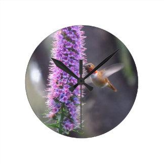 Happy hummingbird round clock