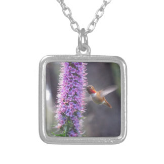 Happy hummingbird silver plated necklace