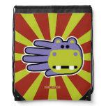 Hand shaped Happy Hungry Purple Hippo Drawstring Bag