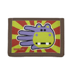 Hand shaped Happy Hungry Purple Hippo Trifold Wallet