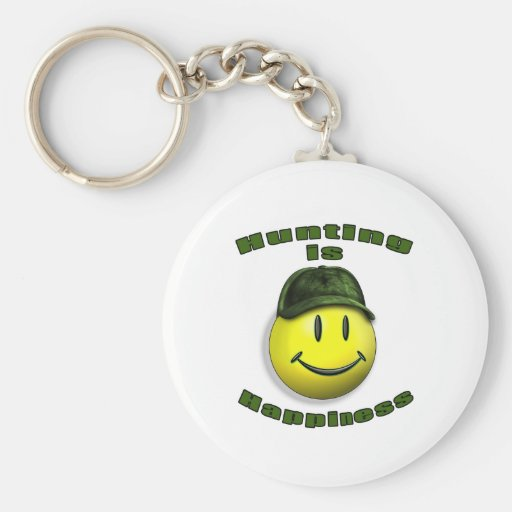 happy hunting basic round button keychain