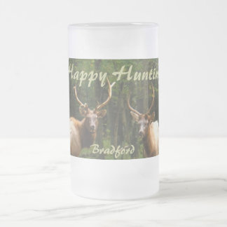 """Happy Hunting Elk Beer Stein """"your Name"""" 16 Oz Frosted Glass Beer Mug"""