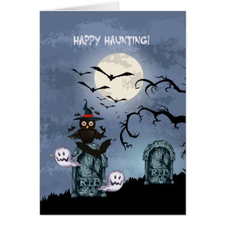 Happy Hunting Owl Ghosts And Flying Bats Card