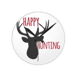 Happy Hunting Round Clock