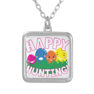 Happy Hunting Square Pendant Necklace