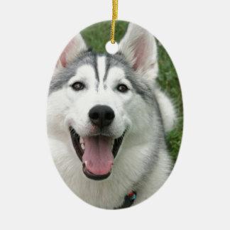 Happy Husky Ceramic Ornament