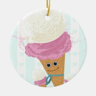 Happy Ice Cream Cone Double-Sided Ceramic Round Christmas Ornament
