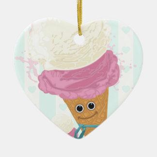 Happy Ice Cream Cone Double-Sided Heart Ceramic Christmas Ornament