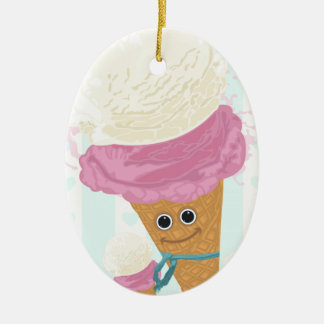 Happy Ice Cream Cone Double-Sided Oval Ceramic Christmas Ornament