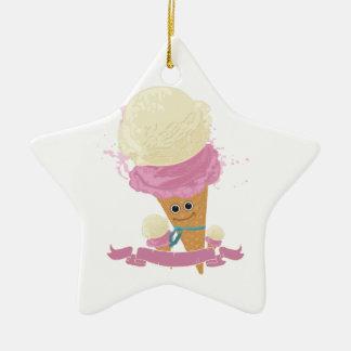 Happy Ice Cream Cone Double-Sided Star Ceramic Christmas Ornament