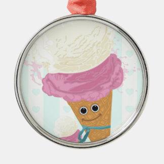 Happy Ice Cream Cone Round Metal Christmas Ornament