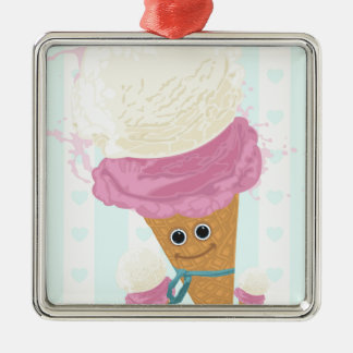 Happy Ice Cream Cone Square Metal Christmas Ornament