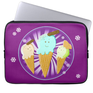 Happy Ice Cream Cones Laptop Computer Sleeves